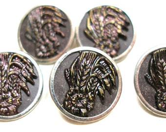 """1800s Antique BUTTONS, 5 Victorian flowers with leaves, unused. 5/8""""."""
