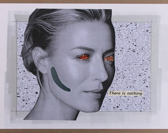 Original Collage Portrait Woman Face Dystopian Technology Sci-Fi