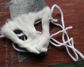 Fox mask - real eco-friendly white Arctic fox fur mask headdress with braided yarn cords for ritual, dance, costume and more