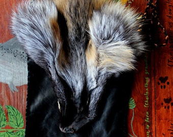 Fox fur and leather pouch - eco friendly recycled leather, cross fox face, yarn bag purse pocket