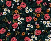 Painted Roses Black - Wonderland - RAYON - Anna Bond Rifle Paper Co - Cotton + Steel - 8024-25