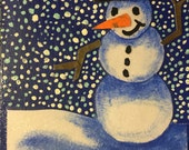 Snowy Night Snowman notecard