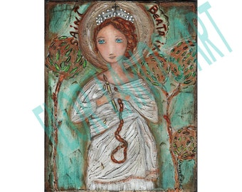 Saint Beatrix -  Giclee print mounted on Wood (4 x 5 inches) Folk Art  by FLOR LARIOS
