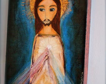 Divine Mercy -  Giclee print mounted on Wood (4 x 5 inches) Folk Art  by FLOR LARIOS