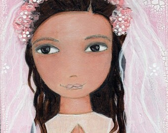 First Communion Girl - Reproduction from Painting by FLOR LARIOS (8 x 10 Inches Print)  )