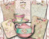 SALE TEA PARTY Collage Digital Images -printable download file-
