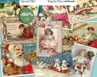 SALE CHRISTMAS Collage Digital Images -printable download file-