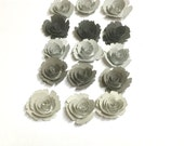 15 Grey ombre rolled paper royal flowers, wedding decoration, scrapbook decoration,table decoration,rosette,small flowers,paper rose,royal