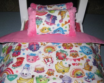 3 Piece American Girl Inspired Shopkins With Matching Pink Pillows And  And Bedspread Doll Bedding