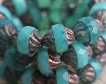 GILDED COASTAL .. 10 Picasso Czech Glass Turbine Beads 10x12mm (5510-10)