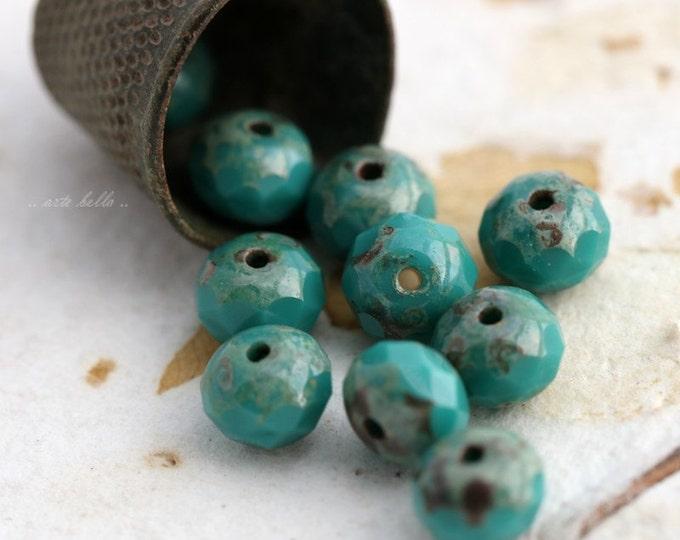 TIDE TOTS .. Premium Picasso Czech Glass Rondelle Beads 5x7mm (5501-10)