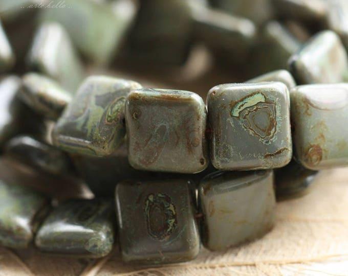 SLATE .. 15 Premium Picasso Czech Glass Square Beads 10mm (B1010-15)