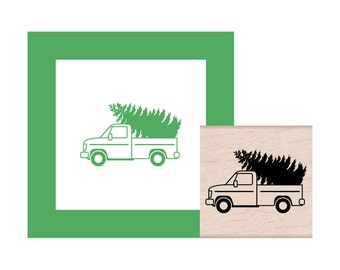 Truck with Christmas Tree Rubber Stamp