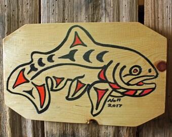 Trout Spirit - salmonid fish tribal wall art - wood painting - Pacific Northwest Coast Indian inspired - repurposed pine board - OOAK