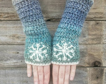 Fingerless Gloves with Snowflake, Blue, Aqua, Cream, Armwarmers, Women's Gloves, Warm, Embroidered, Hippie, Boho, Bohemian, MADE TO ORDER