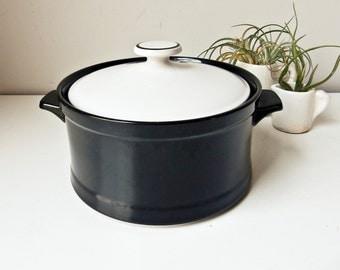 Stoneware Bakeware, Black and White Bowl, Buffet Casserole Dish, Vintage Casserole