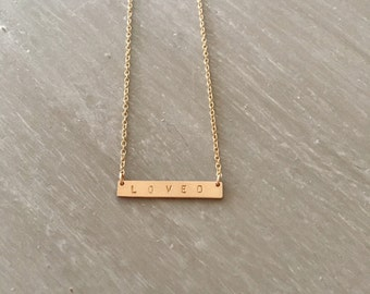 LOVED -- 14kgf Tiny Thin Horizontal Bar Necklace