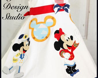 Custom Girl's Three Character Disney Cruise Dress and Top Size 4 5 6 7 8 9 10  Minnie Mickey Donald