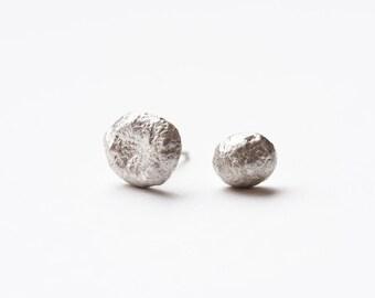 Pebble Earrings, Asymmetrical Studs, Pebble Studs, Stud Earrings, Nature Jewelry, Sterling Posts, Silver Post Earrings