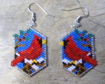 Cardinal Earrings Hand Made Seed Beaded