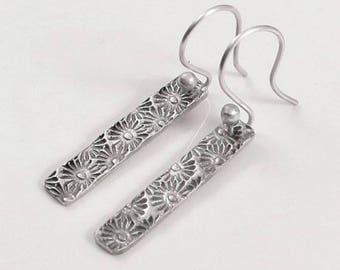 Flower Earrings, Bar Earrings, Fine Silver Jewelry, Gifts for Her, PMC Jewelry