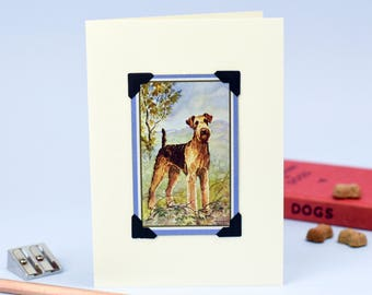 Airedale Terrier Card - Airedale Card - Terrier Card - Vintage Playing Card - Upcycled Dog Card - Recycled Dog Card - Dog Card