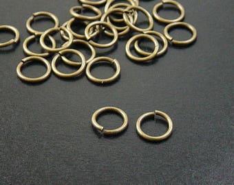 Jump Ring 100 Antique Bronze Brass Unsoldered Closed 8mm 18 gauge (1034jum08z1)