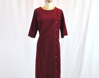Vintage 40s Dress Cranberry Red Velvet With Rhinestones Helen Mueller Size XL