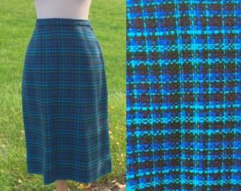 Potluck 50s Vintage Plaid Blue Skirt 28 Waist