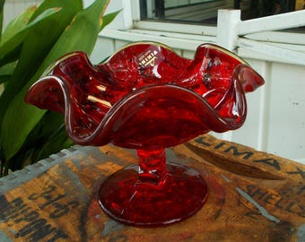 Vintage Ruby Red Viking Glass Georgian Compote Bowl or Candy Dish /  Mid Century Viking Amberina Glass