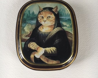 Vintage Cat Mona Lisa tin-Bentley's Tin, Cat Mona Lisa, Mona Lisa theme, Cat lover, Cat theme, Vintage tin, Vintage Bentley's Tin