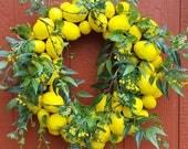 Lemon Wreath #2......Lemons......Front Door Wreath