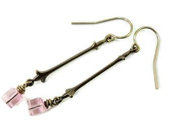 Brass Fleur de Lis Dangles with tiny PInk Swarovski Crsytals, Pink earrings, Crystal earrings