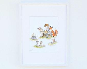 Children's Art -- Woodland Story Boy -- Art Print
