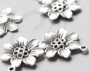 10pcs Oxidized Silver Tone Base Metal Charms-Flower 25x22mm (710Y-B-441)