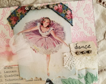 "Dance, Card Handmade with Antique and Vintage Ephemera Added, 5x7"", Pink Dance Theme"
