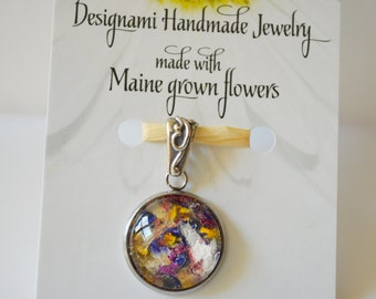Seasons of Maine: Spring Collection-Flower Petal Pendant made with Maine Grown Flowers-Made in Maine Jewelry-Maine nature inspired jewelry