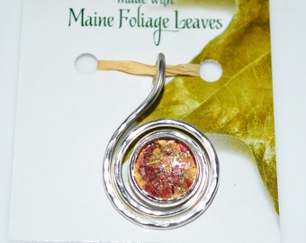Seasons of Maine Fall Collection featuring a necklace made with real Maine Foliage leaves