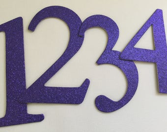 "4"" Glitter Purple Chipboard Numbers, Elegant Font - Wedding Table Numbers, Birthday Decor: EGGPLANT Shown"