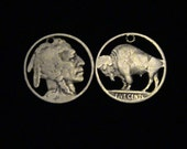 cut coin jewelry set - Buffalo and Indian Chief pendants - 1934 and 1936 - LOW PRICE
