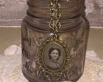 Victorian Gem Tin Type Photo Frame Pendant and Chain Necklace