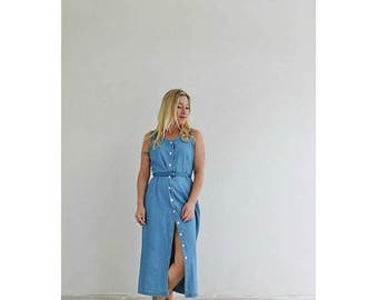 25% OFF SALE 1990s Denim Button Dress /// Size Small to Medium