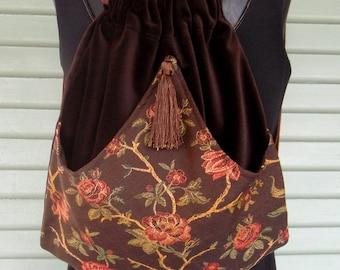 Brown Floral Backpack Boho Backpack  Rose Renaissance Backpack  Brown Book Bag  Backpacks  Back Pack
