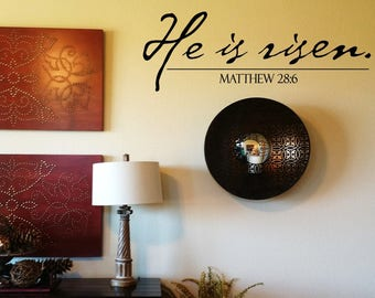 Ships in 1 business day-He is Risen Wall Decal - Resurrection Wall Words - Easter Wall Transfer- Scirpture Wall Sticker -Christian Decor