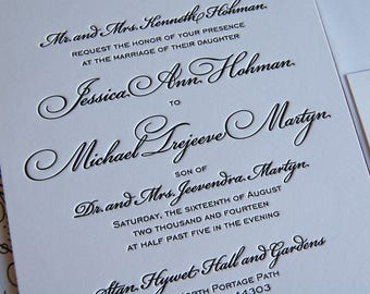 Letterpress Wedding Invitation DEPOSIT, Wedding Invitation, Classic Wedding Invitation, Calligraphic Wedding Invitation, Invitation Suite