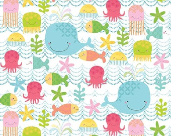 FLANNEL SALE~ Riley Blake Fishing School Novelty Flannel Fabric ~ Whales Octopus Jellyfish Fish on White Background ~ By the Yard