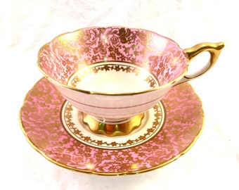 Tea Cup Royal Stafford pink with 24k gold accents  Teacup and Saucer by Royal Stafford Bone ChinA Made in England