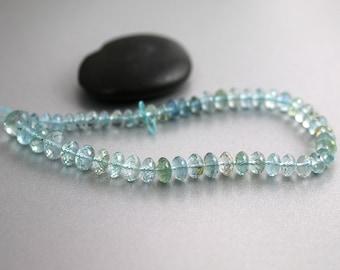 Aquamarine Gemstone Beads - Rondelles - Aquamarine Beads - Half Strand