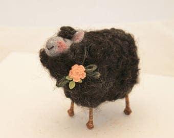 Sheep Little Black Sheep Prim Needle Felted Sheep Black Sheep Of The Family #2497