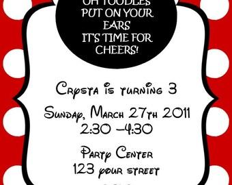 Girls Minnie Mouse Printable Birthday Party Invitation Digital Print Your Choice